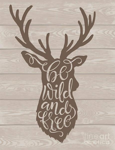 Antlers Wall Art - Digital Art - Vector Illustration Of Deer Silhouette by Bariskina