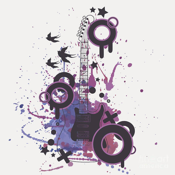Grunge Music Wall Art - Digital Art - Vector Illustration Of Electric Guitar by Eireen Z