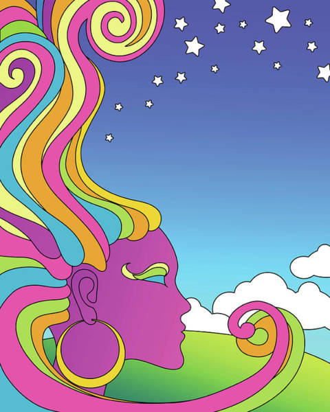 Vertical Line Digital Art - Vector Illustration Of Psychedelic by Teddyandmia