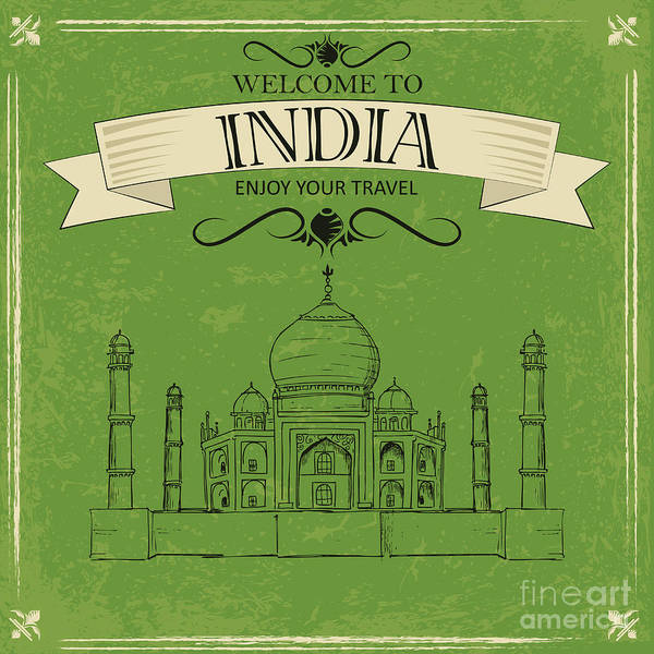 Domes Wall Art - Digital Art - Vector Illustration Of Taj Mahal Of by Stockshoppe
