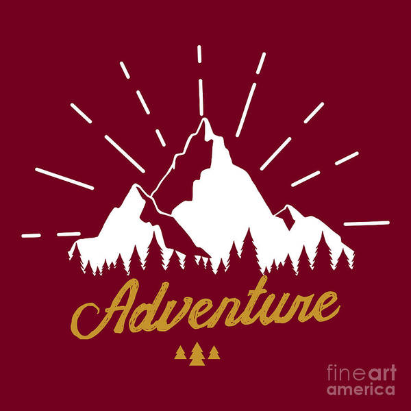 Hiking Digital Art - Vector Illustration With Mountains by Julia Korchevska