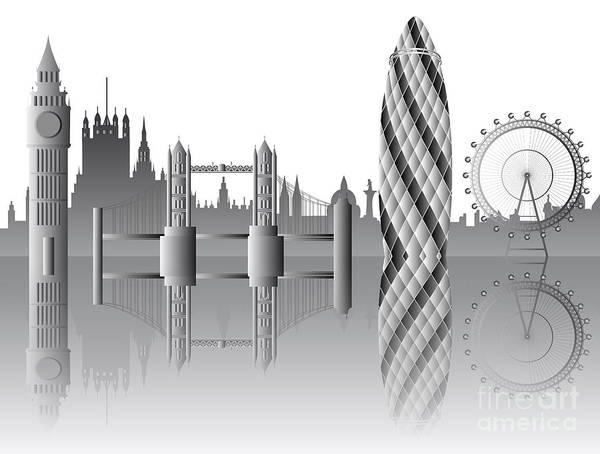 Famous Places Digital Art - vector London skyline by Michal Boubin
