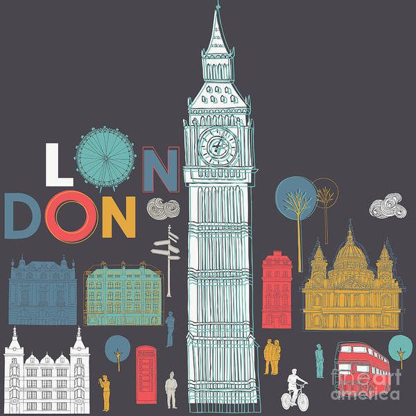 England Digital Art - Vector London Symbols by Lavandaart