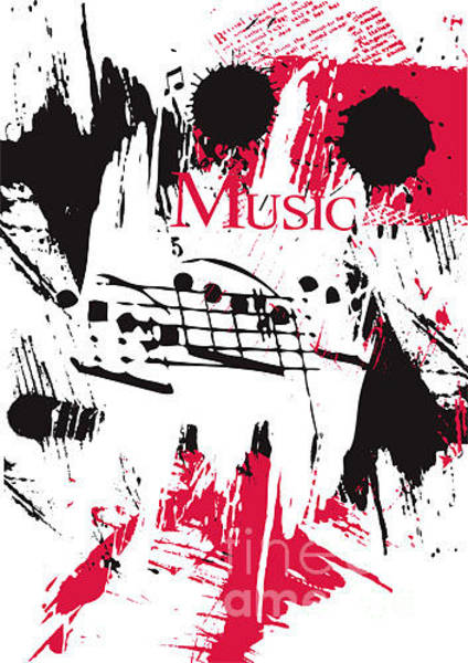 Grunge Music Wall Art - Digital Art - Vector Music On A Grunge Background by Ozger Sarikaya