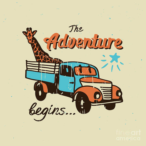 Wall Art - Digital Art - Vector Poster The Adventure Begins by Ksenia Martianova