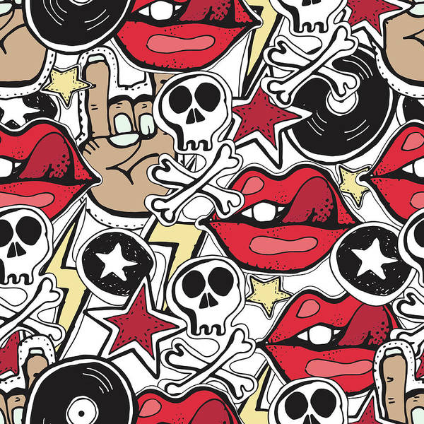 Punk Rock Digital Art - Vector Seamles Pattern.  Punk Rock by Trishamcmillan