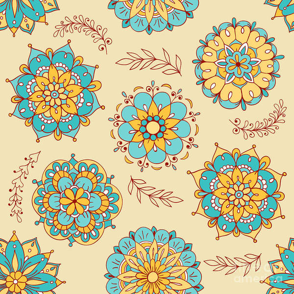 Leaf Digital Art - Vector Seamless Pattern, Doodling by Xox