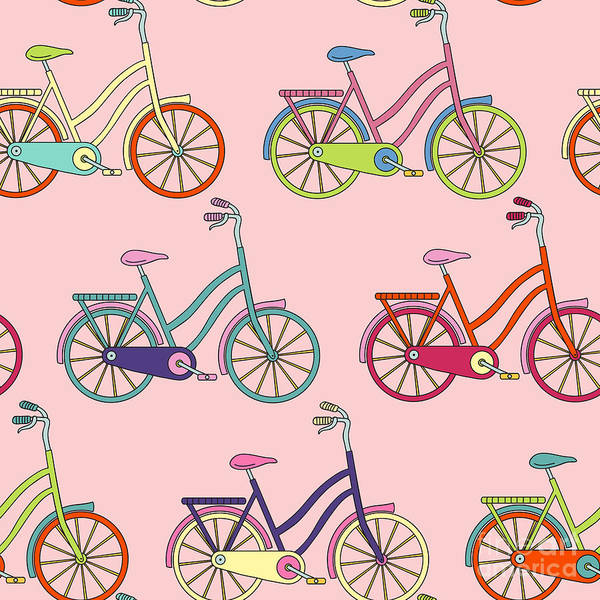 Bike Digital Art - Vector Seamless Pattern With Bicycle by Maria galybina