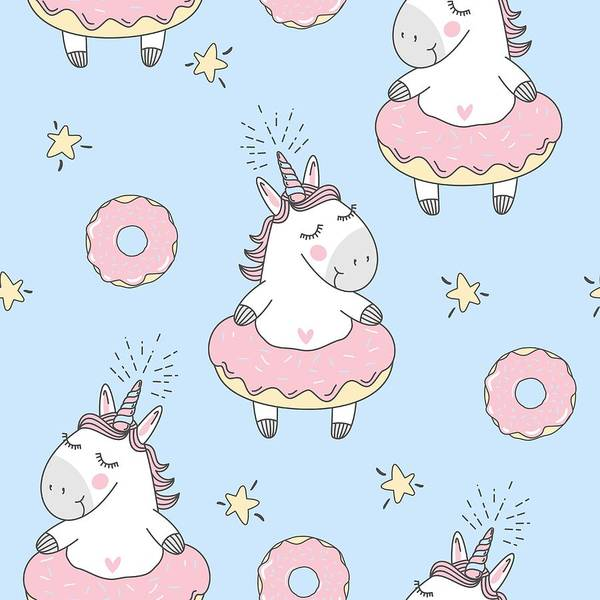 Cute Digital Art - Vector Seamless Pattern With Cute by Daria Voskoboeva