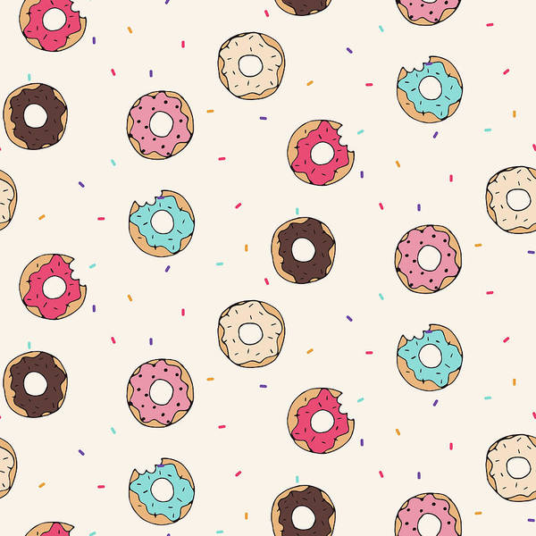 Printmaking Wall Art - Digital Art - Vector Seamless Pattern With Donuts by Victoria pineapple