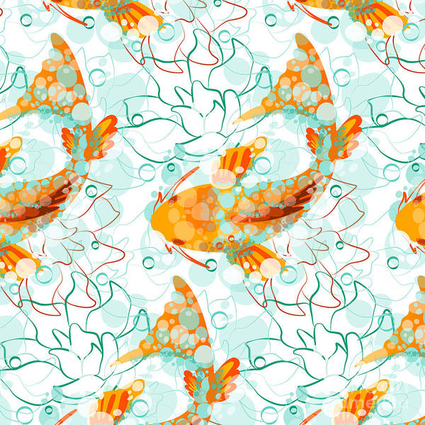Wall Art - Digital Art - Vector Seamless Pattern With Koi Fish by Derenskaya