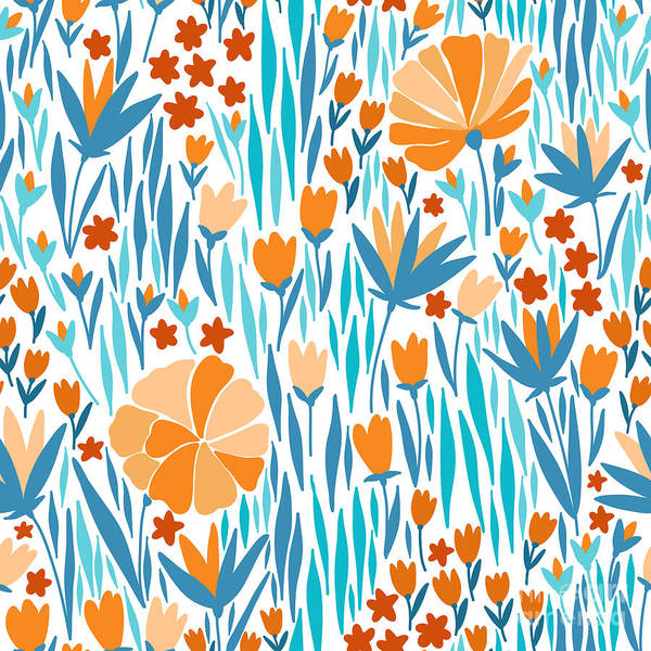 Blooms Digital Art - Vector Seamless Pattern With Summer by Maria galybina
