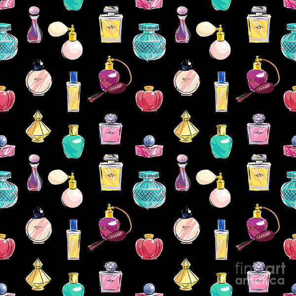 Product Wall Art - Digital Art - Vector Seamless Perfume Pattern by Nina susik