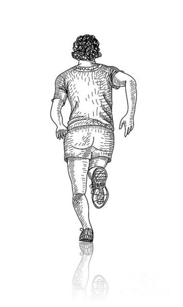 Runner Wall Art - Digital Art - Vector Sketch Of Man Runs Into The by Farferros