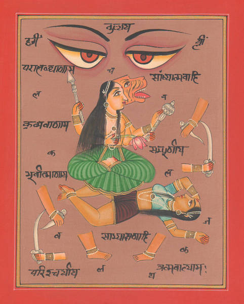 Wall Art - Painting - Vedic Artwork Hindu Goddess Durga Miniature Painting India Handmade Aertwork by A K Mundhra