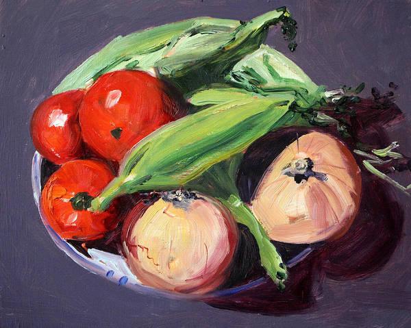 Fresh Paint Painting - Vegetable Bowl by Nancy Merkle