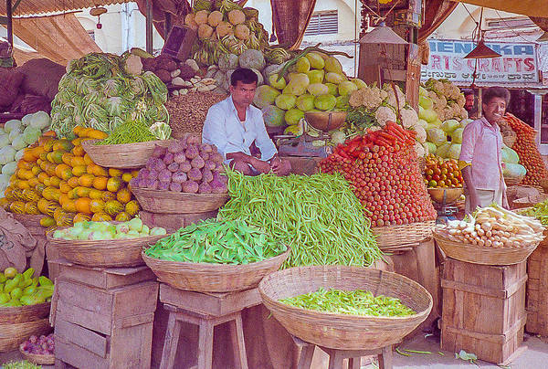 Photograph - Vegetable Seller In Indian Market by Pete Hendley