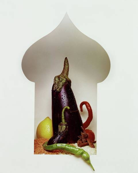Eggplant Photograph - Vegetables In The Shape Of A Mosque by Fotiades