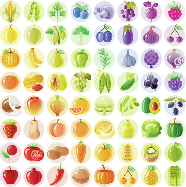 Vegetarian Digital Art - Vegetarian Rainbow Withe Fruits by O-che