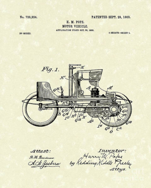 Vehicle Drawing - Vehicle 1903 Patent Art by Prior Art Design
