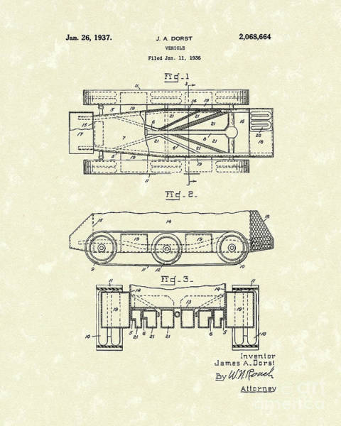 Vehicle Drawing - Vehicle 1937 Patent Art by Prior Art Design