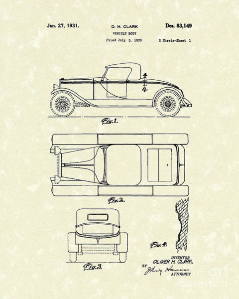 Vehicle Drawing - Vehicle Body 1931 Patent Art by Prior Art Design