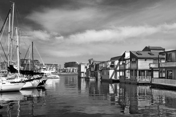 Photograph - Veiw Of Marina In Victoria British Columbia Black And White by Ben and Raisa Gertsberg