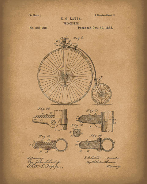 Drawing - Velocipede Latta 1888 Patent Art Brown by Prior Art Design