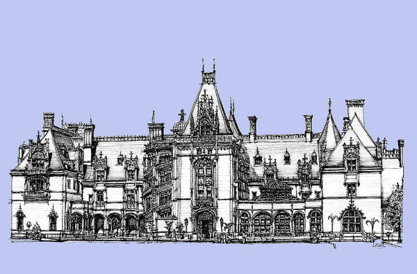 Graphics Drawing - Venderbilt's Biltmore In Blue by Building  Art