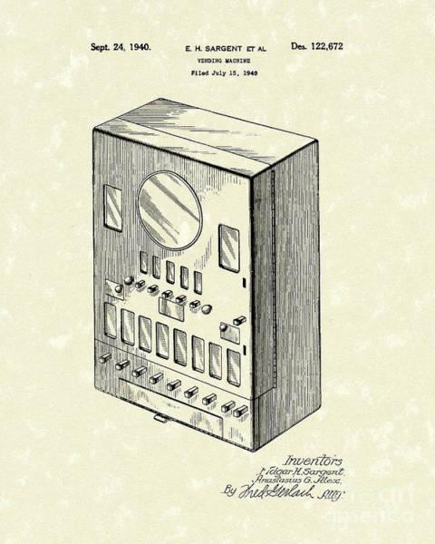Drawing - Vending Machine 1940 Patent Art by Prior Art Design