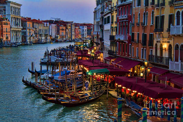 Dinner Photograph - Venetian Grand Canal At Dusk by David Smith