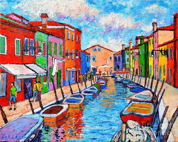 Maria Island Wall Art - Painting - Venezia Colorful Burano by Ana Maria Edulescu