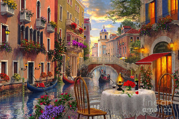 Boats Digital Art - Venice Al Fresco by MGL Meiklejohn Graphics Licensing