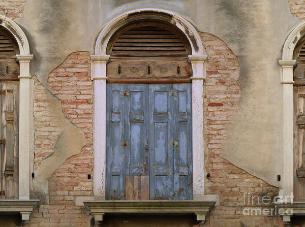 Venice Arched Bblue Shutters Horizontal Art Print