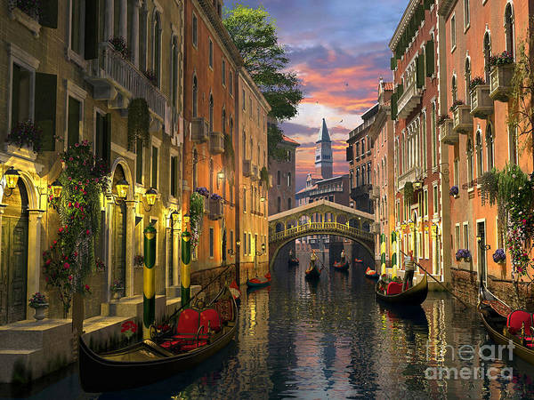 Wall Art - Digital Art - Venice At Dusk by MGL Meiklejohn Graphics Licensing