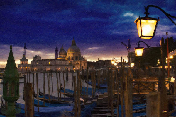 Painting - Venice At Night Itl4369 by Dean Wittle