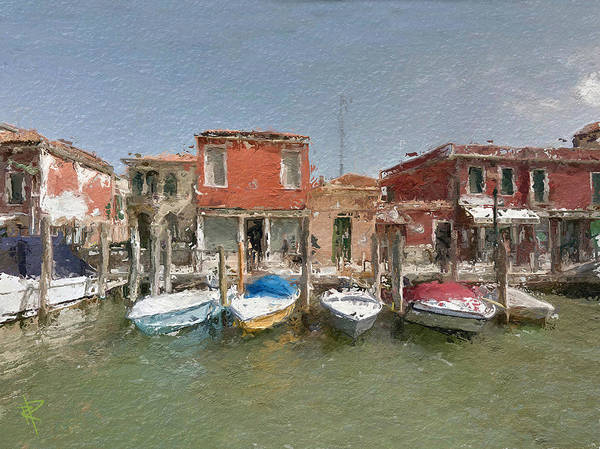 Speed Mixed Media - Venice Boats by Russell Pierce