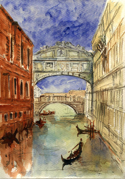 Canal Painting - Venice Canal Bridge Of Sighs by Juan  Bosco
