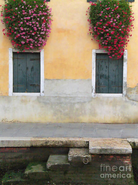 Painting - Venice Canal Shutters With Window Flowers by Robyn Saunders
