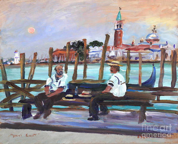 Wall Art - Painting - Venice Gondola With Full Moon by Valerie Freeman