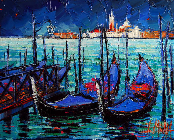Shadow And Light Painting - Venice Gondolas And San Giorgio Maggiore by Mona Edulesco