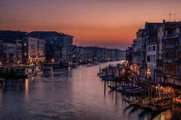 Gondola Photograph - Venice Grand Canal At Sunset by Karen Deakin