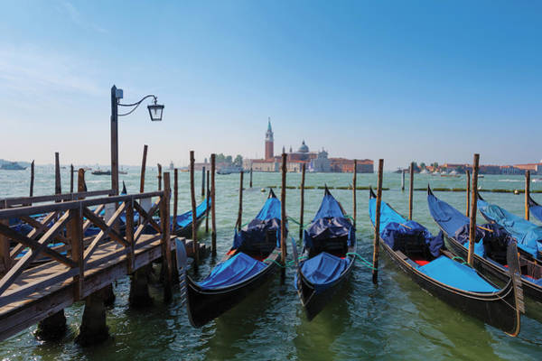Moored Photograph - Venice, Italy. Gondolas In Bacino Di by Ken Welsh