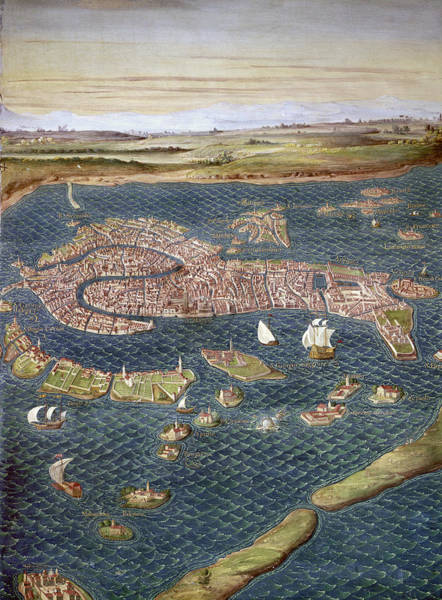Photograph - Venice: Map, 16th Century by Granger