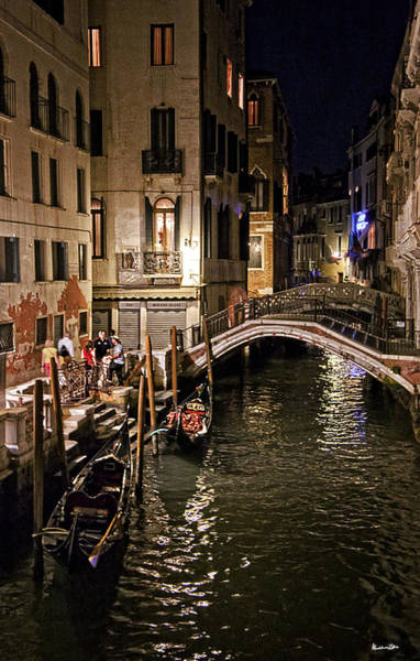 Wall Art - Photograph - Venice Night By The Canal by Madeline Ellis