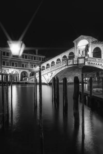 Ancient Architecture Photograph - Venice Rialto Bridge At Night In Black And White by Melanie Viola