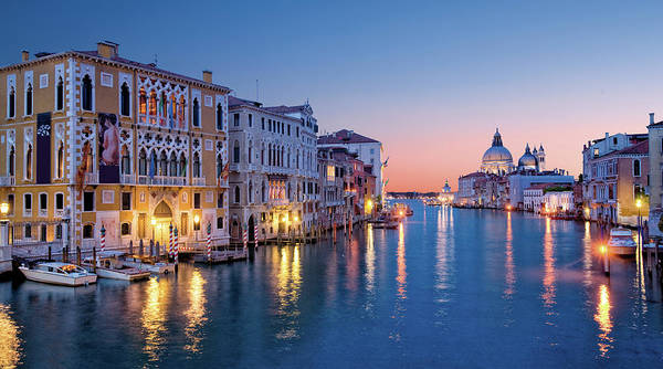 Illuminated Photograph - Venice Skyline At Dusk by Visions Of Our Land