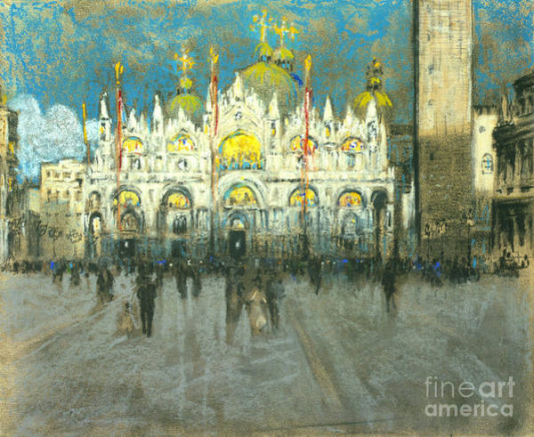 St Mark's Basilica Photograph - Venice Sunset - Basilica Di San Marco 1901 by Padre Art