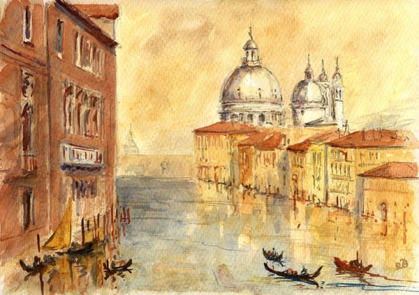 Canal Wall Art - Painting - Venice Sunset by Juan  Bosco