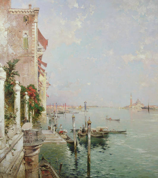 Waterway Painting - Venice View From The Zattere With San Giorgio Maggiore In The Distance by Franz Richard Unterberger